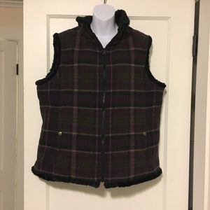 Woolrich flannel/fur vest